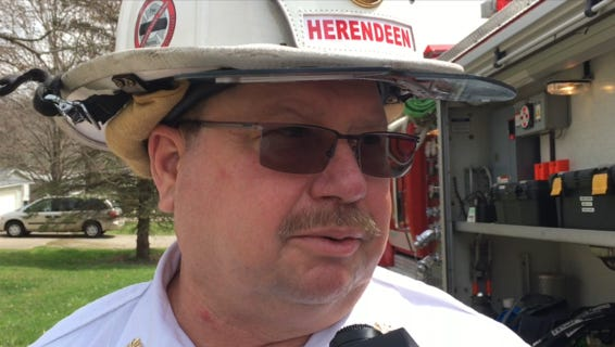 Former Madison Township Fire Chief Mark Herendeen talks to media after a fire on Walker Avenue on Monday, April 3, 2017. Herendeen announced his resignation to department staff the next day.
