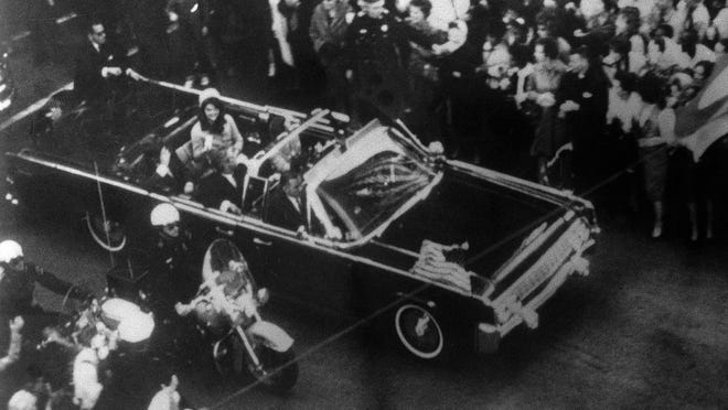 This image provided by the Warren Commission is an overhead view of President John F. Kennedy's car in Dallas motorcade on Nov. 22, 1963, and was the commission's Exhibit No. 698.