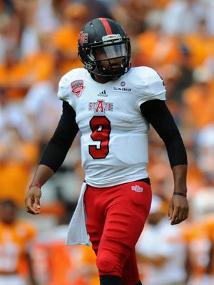 Arkansas State Red Wolves quarterback Fredi Knighten (9) during the first quarter against the Tennessee Volunteers at Neyland Stadium.