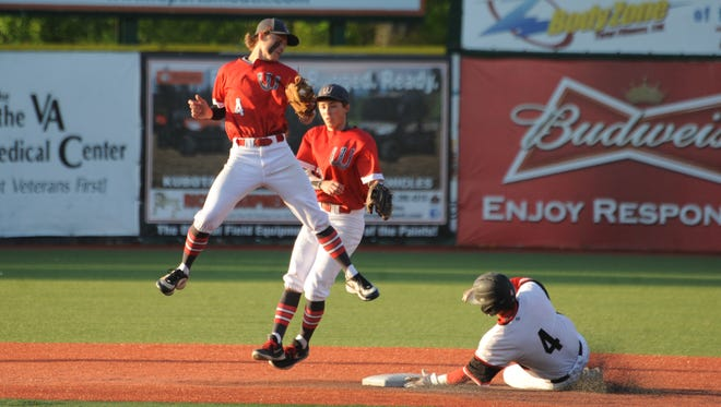 Westfall's Dustin Kaiser catches a ball in mid-air during Friday's contest against Circleville at VA Memorial Stadium.