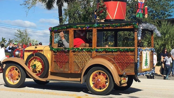 While Santa Claus will be coming to Jupiter Dec. 9, in the annual Jupiter/Tequesta Christmas Parade, floats and decked out parade entries - like this one from last year - are being readied for the occasion.
