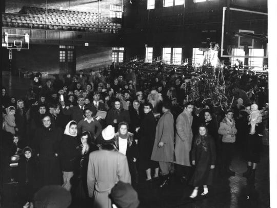 A 1952 photo of the crowd at Memorial Auditorium for a VFW Christmas bazaar.