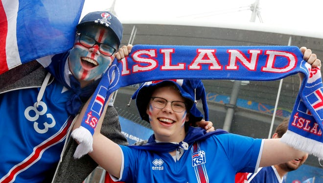 Iceland supporters before the Euro 2016 quarterfinal between France and Iceland at Stade de France in Saint-Denis, France.