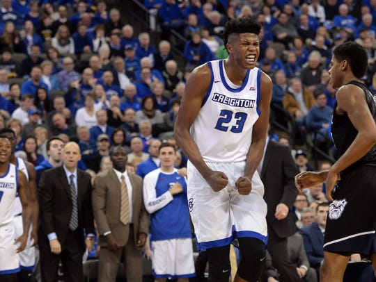 Creighton Bluejays center Justin Patton (23) reacts