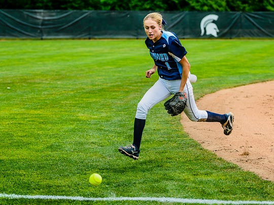 Carley Barjaktarovich of Richmond watches a blooper by Katie Ross of Escanaba hit the 3rd base line allowing Ross to reach 1st in the top of the 7th inning of their Division 2 state semifinal game Thursday June 15, 2017 at Seccia Stadium in East Lansing.  This was all the offense Escanaba could muster in their attempt to overcome the Richmond 4-2 lead.  KEVIN W. FOWLER PHOTO