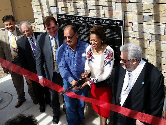 Las Cruces Mayor Ken Miyagishima, left, Doña Ana County