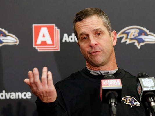 Baltimore Ravens head coach John Harbaugh answers questions during a news conference after his team defeated the Cleveland Browns in an NFL football game, Sunday, Dec. 17, 2017, in Cleveland. (AP Photo/Ron Schwane)