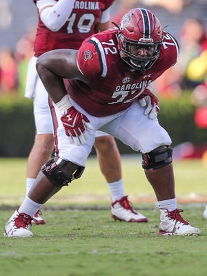 Sep 23, 2017; Columbia, SC, USA; South Carolina Gamecocks offensive lineman Donell Stanley (72) against the Louisiana Tech Bulldogs during the second half at Williams-Brice Stadium.