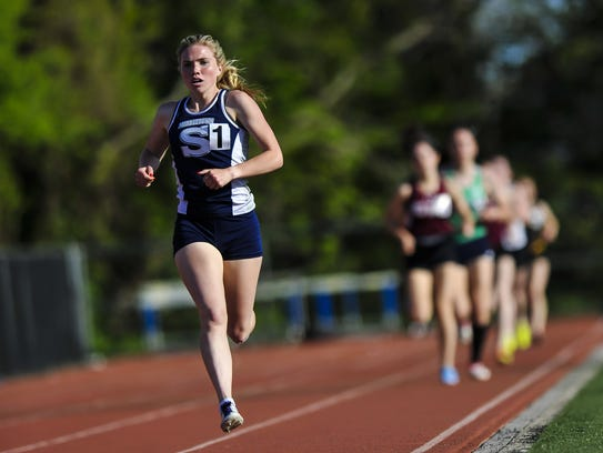 Madison Brand of Middletown South sprints to the finish