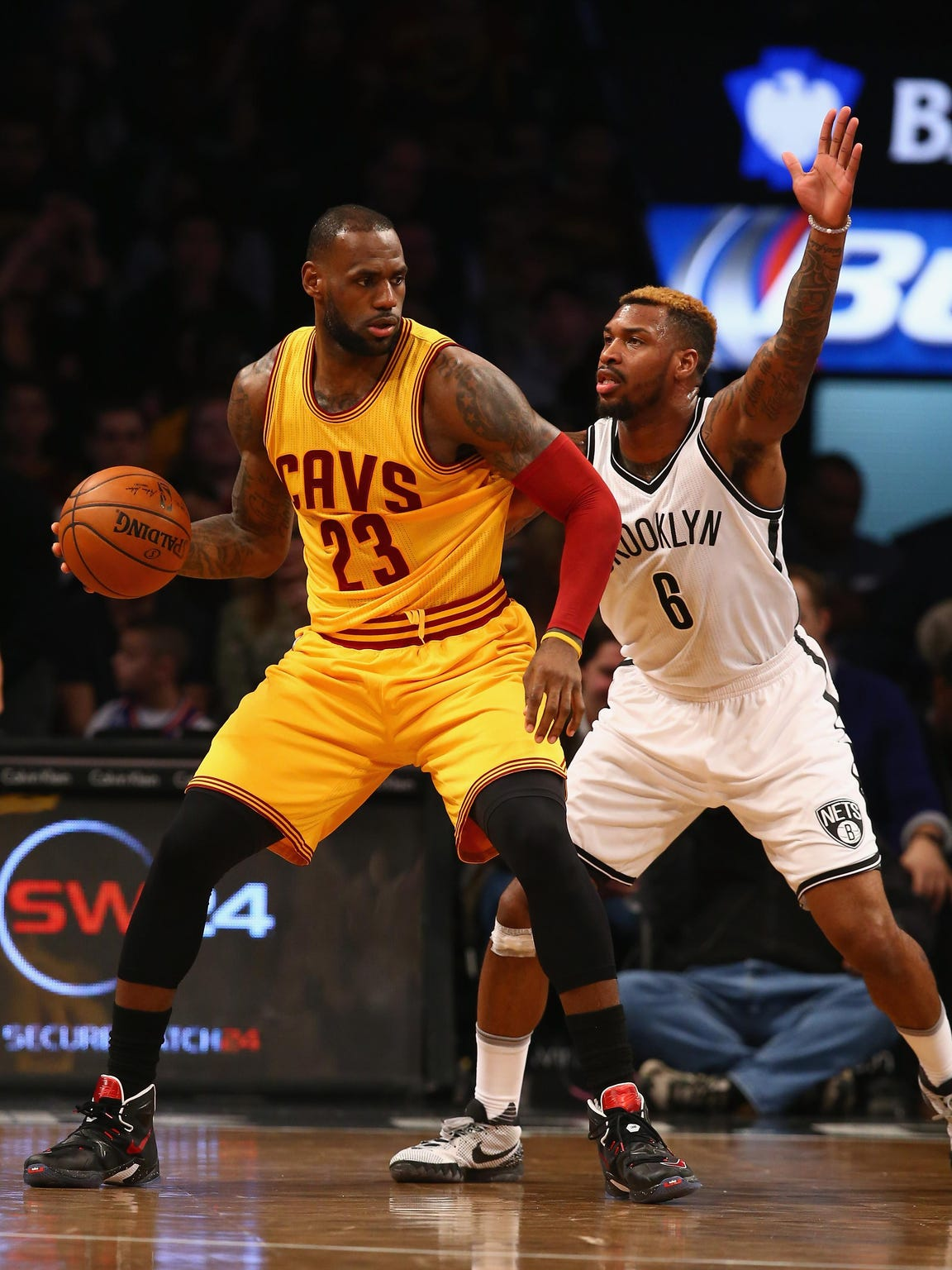 LeBron James of the Cleveland Cavaliers dribbles against