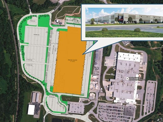A Kansas City developer wants to build a large warehouse west of the Harley-Davidson plant, along Eden Road and north of Route 30, in Springettsbury Township. This shows the proposed site on the left, along with a rendition of the warehouse, with Harley on the right.