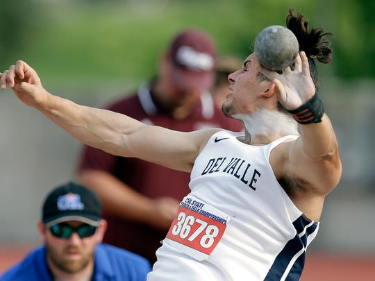 Del Valle's Joshua Hernandez competes in the Conference 5A shot put at the UIL state track and field championships Thursday in Austin. Hernandez had an eighth-place finish in the Class 5A boys shot put with a best mark of 53 feet, 3½ inches.