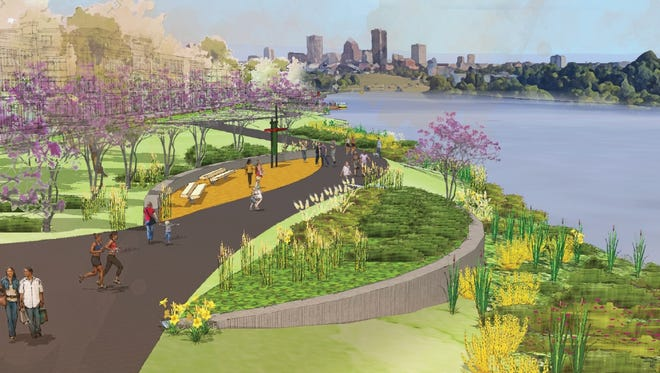 A rendering of the West River Wall project near Ford Street.