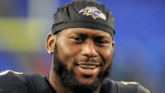 Baltimore Ravens safety Matt Elam (33) looks on after the game against the Philadelphia Eagles at M&T Bank Stadium.