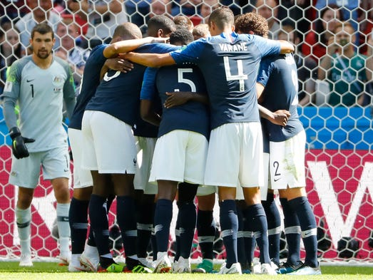 France players celebrate after the opening goal against