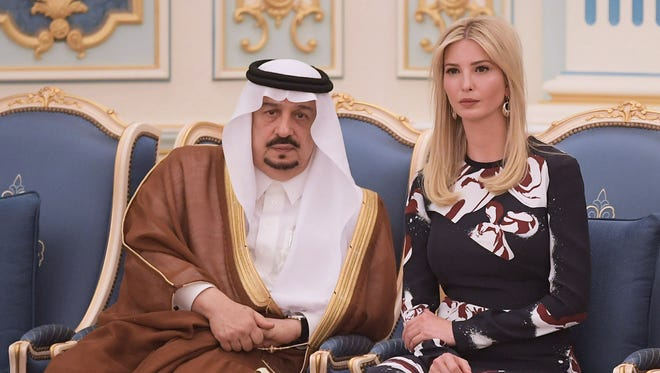 Ivanka Trump appears at a ceremony where her father, President Trump, received the Order of Abdulaziz al-Saud medal from Saudi Arabia's King Salman bin Abdulaziz al-Saud at the Saudi Royal Court in Riyadh Saturday.