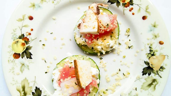 Quick, easy and sure to please, try this cucumber sushi sandwich for a fall appetizer.