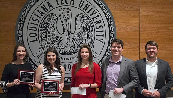 Louisiana Tech students Katie Lybrand, Mary Voisin, Mallory Walters, Tyler Harrel and Ethan Nugent were honored recently.
