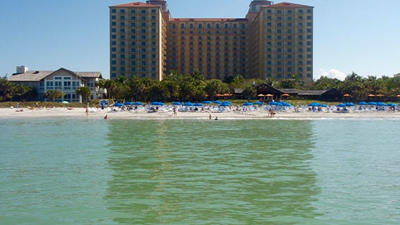 Water view of Ritz-Carlton and its Beach House.