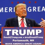 Republican presidential candidate Donald Trump speaks at a rally at Great Bay Community College on Thursday in Portsmouth, N.H.