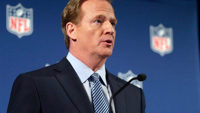 \NFL Commissioner Roger Goodell speaks during a news conference Friday, Sept. 19, 2014, in New York. Goodell says the NFL wants to implement new personal conduct policies by the Super Bowl. The league has faced increasing criticism that it has not acted quickly or emphatically enough concerning the domestic abuse cases.  (AP Photo/Jason DeCrow)