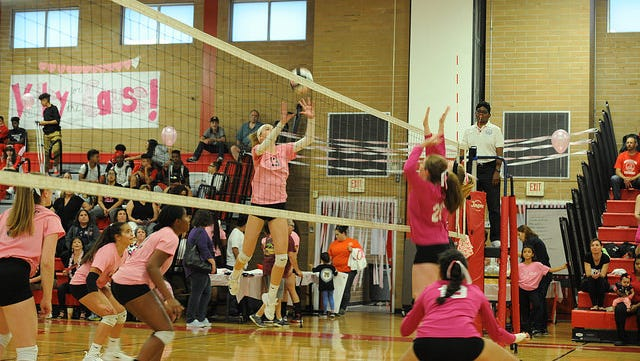 """North Rockland hosted Tappan Zee in its annual """"Volley for a Cause"""" match on Oct. 6, 2017."""