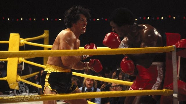 """Sylvester Stallone and Carl Weathers in """"Rocky II"""" (1979)."""
