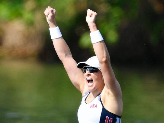 Ellen Tomek of the USA women's double sculls team at