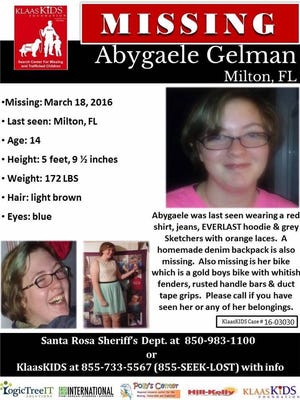 Authorities are seeking missing, endangered 14-year-old Abygaele Gelman.