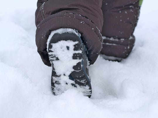Child footing in snow