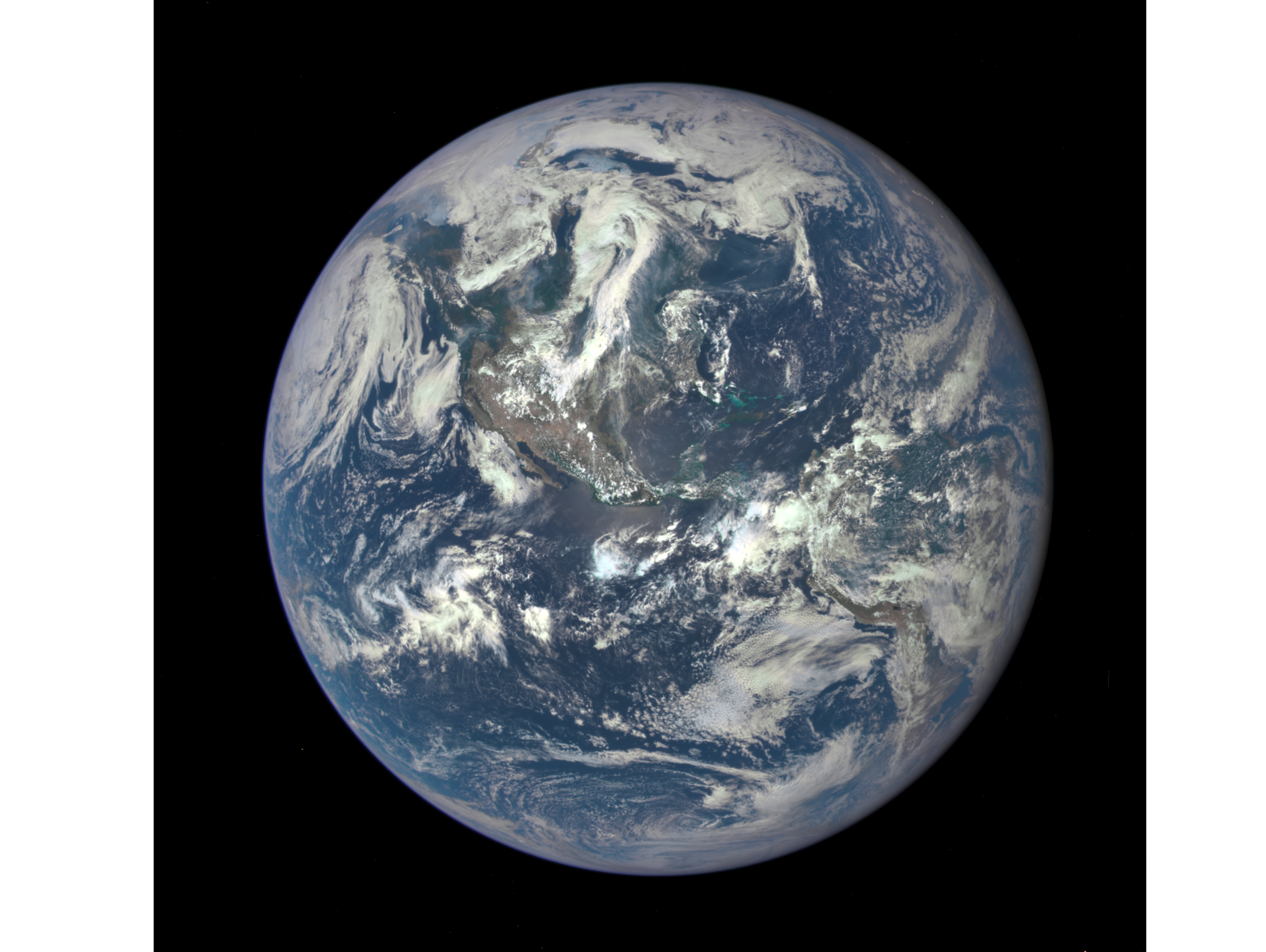A recent photo of the Earth, as taken from the DSCVR satellite one million miles from Earth.