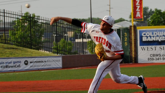 Pitcher Casey Henn of Cincinnati heats things up from the mound for the Florence Freedom.