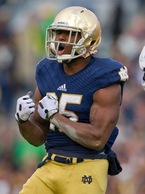 Notre Dame running back Tarean Folston (25) plans to begin 2014 the way he ended 2013.