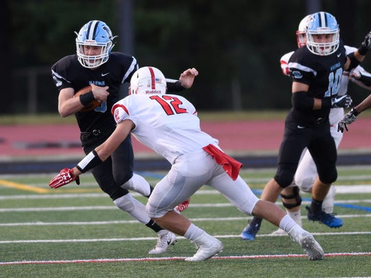 Westwood at Mahwah on Friday, September, 8, 2017. (left) M #9 Kyle Teel runs with the ball in the first quarter.