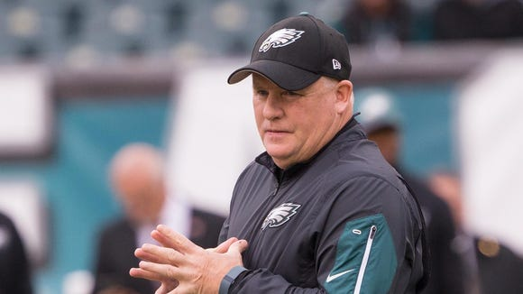 Nov 22, 2015; Philadelphia, PA, USA; Philadelphia Eagles head coach Chip Kelly prior to action against the Tampa Bay Buccaneers at Lincoln Financial Field. Mandatory Credit: Bill Streicher-USA TODAY Sports