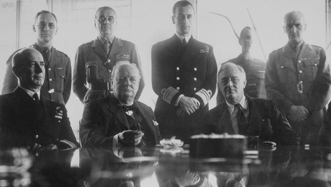 """As seen in """"The Roosevelts: An Intimate History,"""" President Franklin Delano Roosevelt and Prime Minister Winston Churchill, Casablanca 1943."""