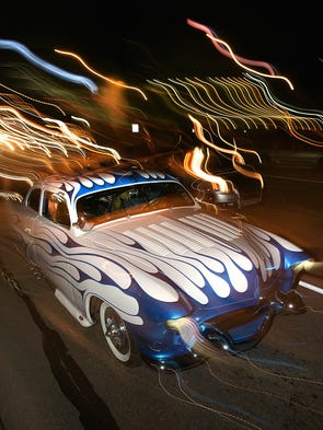 Annual Dream Cruise favorite Sh'Boom lit up Woodward
