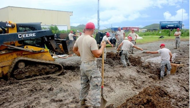 Hundreds of National Guard members in support of civil authorities in the Virgin Islands reside on a soccer field converted into a tent city or Disaster Relief Beddown Set, adjacent to the Cyril E. King International Airport on the island of Saint Thomas. The DRBS was built in a matter of days by members of the 200th Red Horse Squadron, Ohio National Guard, who arrived to the Virgin Islands prior to Hurricane Irma. In fact, the team battled terrain and Mother Nature on multiple occasions post-arrival.