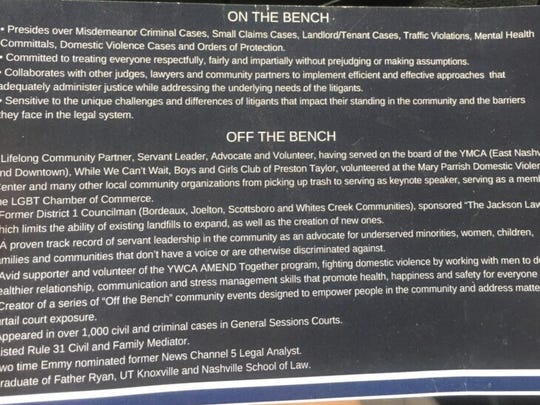 A photograph of Judge Nick Leonardo's flyer saying