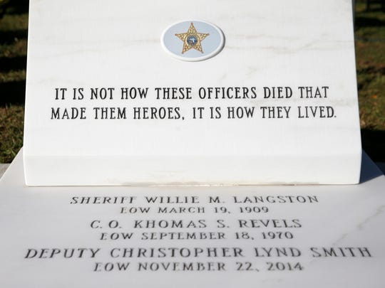 A memorial for fallen Leon County Sheriff Officers was unveiled during a ceremony Friday.