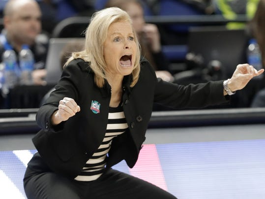 Florida State head coach Sue Semrau directs her team against Notre Dame during the first half of an NCAA college basketball game in the semifinals of the women's Atlantic Coast Conference tournament in Greensboro, N.C., Saturday, March 3, 2018. (AP Photo/Chuck Burton)