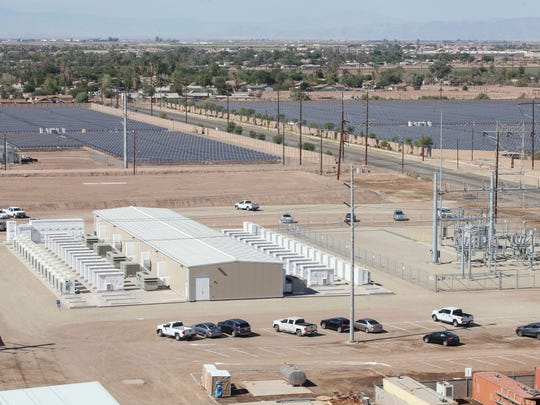 The Imperial Irrigation District's 30-megawatt battery storage system in El Centro, California, seen from a drone. The 20-megawatt Sol Orchard solar project can be seen in the background.