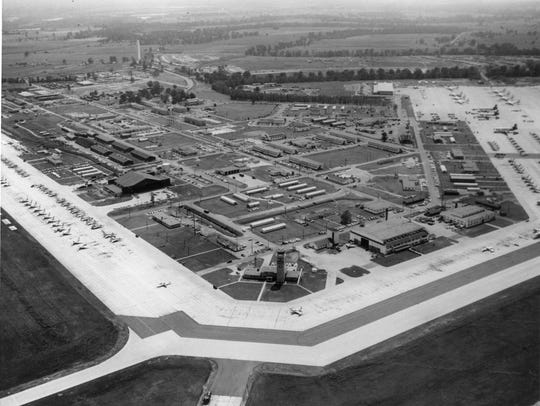 An aerial photo of England Air Force Base in the early