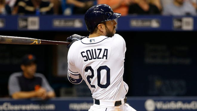 Outfielder Steven Souza Jr. hit .239 with 30 home runs and 78 RBI for the Rays in 2017.
