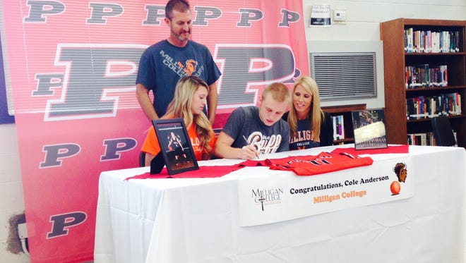 Pisgah senior Cole Anderson signed to play college basketball for Milligan (Tenn.) on Thursday in Canton.