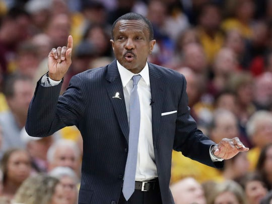 Toronto Raptors head coach Dwane Casey gestures against the Cleveland Cavaliers in Game 4 of the NBA playoffs May 7, 2018, in Cleveland.