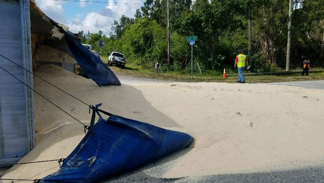 A truck overturned at U.S. 27 an Evercane Road in Clewiston spilling 25 tons of sugarcane.