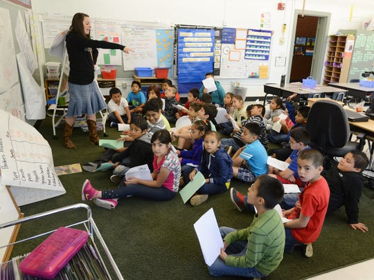 Elizabeth Peters teaches a second/third grade literacy squared class at Richmond Elementary School in Salem on Thursday, May 22, 2014. Peters has 32 students in her class.