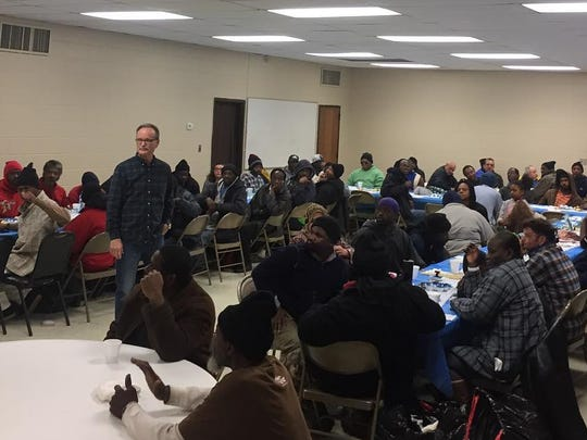 Each year Southside Baptist Church holds a Community Christmas dinner, at which church members serve the homeless and less fortunate from all their best home-cooked recipes.