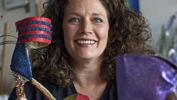 Cari Rhoton of the Krewe of Muses creates the group's signature shoes from her garage in Kenner, La. More than 1,000 members of the organization ride floats and pass out shoes.